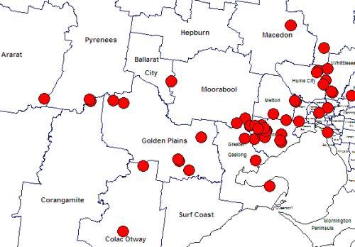 plains-wanderer map old records west of Melbourne