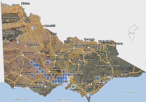 Distribution of Button Wrinklewort in Victoria - Map derived from Victorian Biodiversity Atlas, December 2014