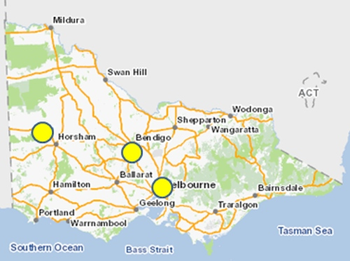 The Eltham Copper Butterfly is only known from three general localities in Victoria. Source: Adapted from VBA 2015