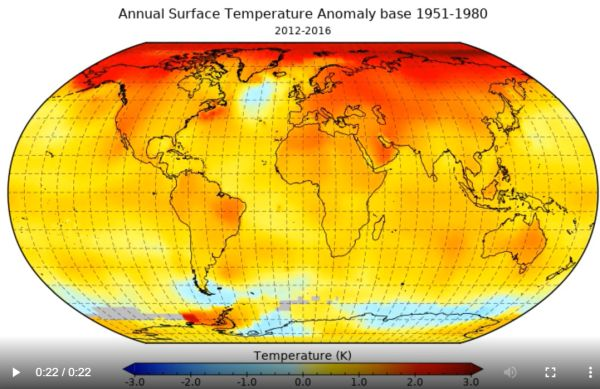 surface temperature change